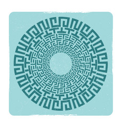 Ancient greek round meander key emblem vector
