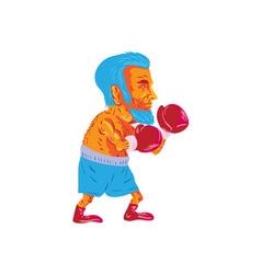 Bearded boxer boxing cartoon wpa vector