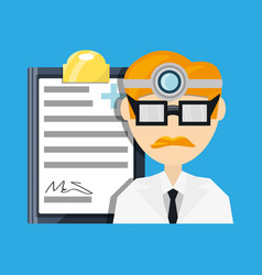 doctor with head mirror and glasses with medical vector image vector image