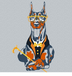 hipster dog Doberman Pinscher breed vector image vector image