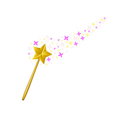magic wand with stream of stars vector image