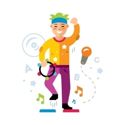 Man in karaoke club flat style colorful vector