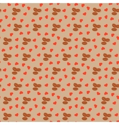 Seamless background with coffee grains and hearts vector image