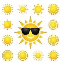 set of different suns isolated on white vector image vector image