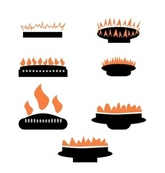Set of gas icons with burner vector image