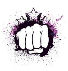 fist with stars vector image vector image