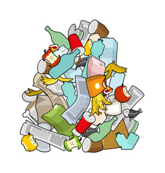 garbage heap isolated pile rubbish stack trash vector image vector image