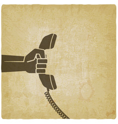 hand with telephone handset vector image vector image