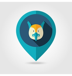 Pheasant flat pin map icon Animal head vector image