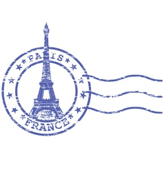 Shabby stamp with Eiffel tower - Sights of Paris vector image vector image