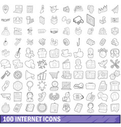 100 internet icons set outline style vector image