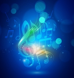 Abstract Music Notes and Bokeh Lights Blue vector image vector image