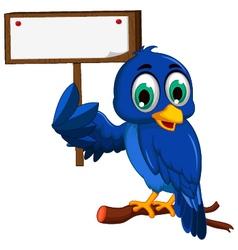 Cute blue bird cartoon holding blank board vector