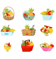 fresh fruit in baskets containers and vases set vector image