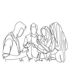 group of sketch people using smart phones and vector image