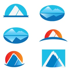set of mountains logo vector image