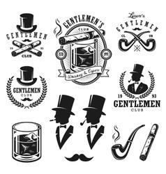 Set of vintage gentlemen emblems and elements vector image