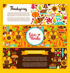 Thanksgiving horizontal banners vector