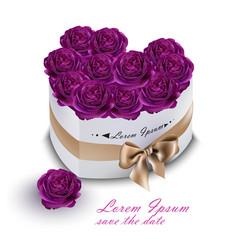 violet roses bouquet box realistic vector image