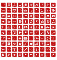 100 doctor icons set grunge red vector image