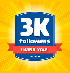 3000 followers thank you design card vector image