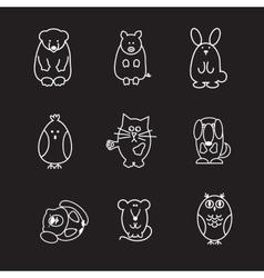 animal line icons vector image