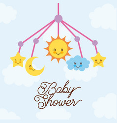 Baby shower crib hanging toy with star moon cloud vector
