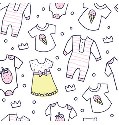 Baby shower seamless pattern of baby girl clothes vector