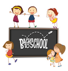 Back to school template with doodle children vector