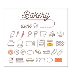 Bakery icons design set vector