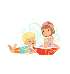 Boy with little girl reading magic book with vector