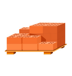 bricks stack on wooden stand building materials vector image