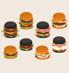 burger ingredients for hamburger food sandwich vector image