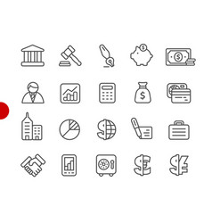 business and finance icons red point series vector image