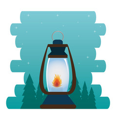 Camping zone with lantern vector