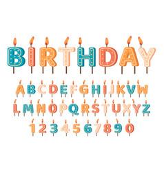 candles birthday alphabet birthday abc vector image