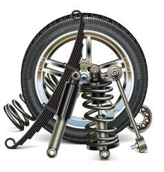 Car wheel with suspension parts vector