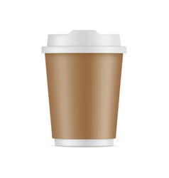 cardboard coffee cup with lid isolated vector image