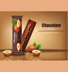 chocolate bar with nuts realistic product vector image