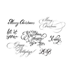 christmas hand drawn lettering vector image