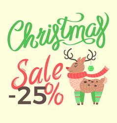 christmas sale -25 reindeer vector image