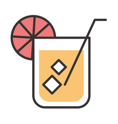 cocktail icon glass with iced drink liquor vector image