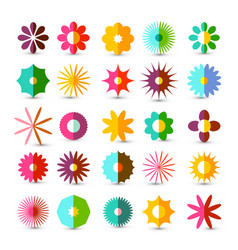 colorful flowers set flower symbol isolated on vector image