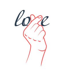 concept of the word love fingers heart vector image