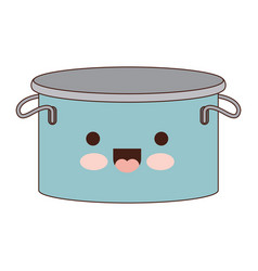 Cooking pot with lid colorful kawaii silhouette vector