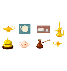 Crockery icon set cartoon style vector