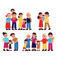 cute families groups cartoon family isolated vector image