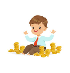 cute little boy businessman sitting surrounded by vector image