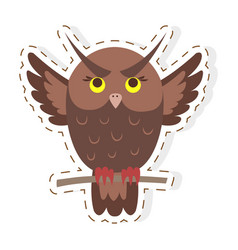 cute owl cartoon flat sticker or icon vector image