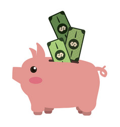 Cute pig to save cash money vector
